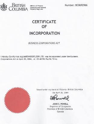 Trade Mark Ahf All Hardwood Floor Ltd Trademark Canada